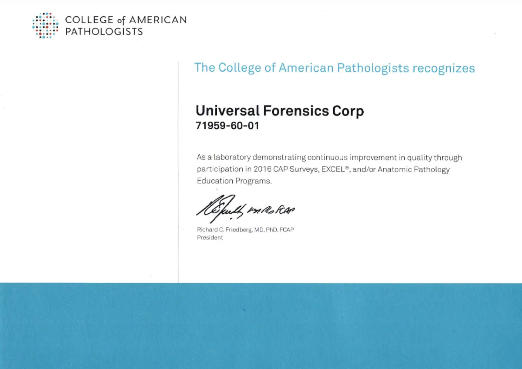 College Of American Pathologists Certificate