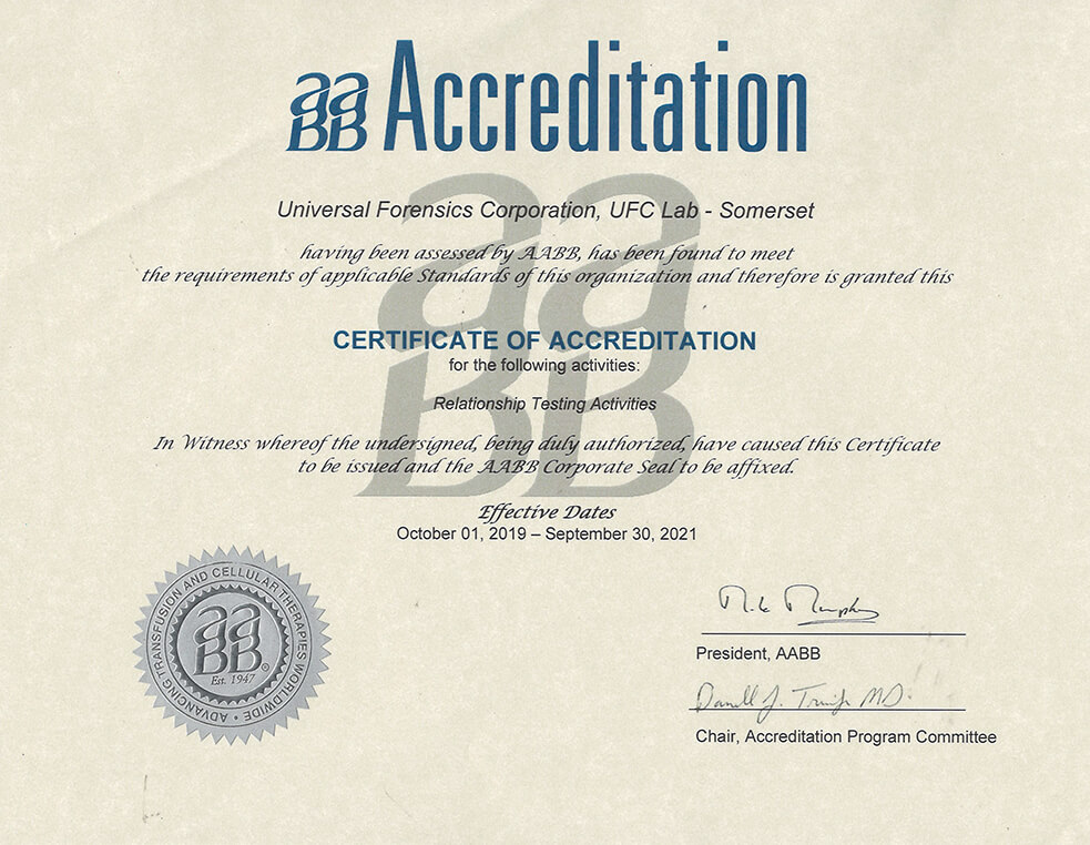 AABB Accredidation Certificate